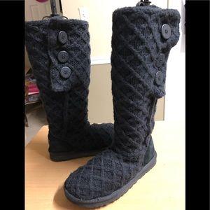 UGG Lattice Cardy Tall Black Knit Boot 8